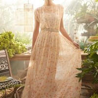 Peach Blossom Maxi Dress by Paper Crown Neutral Motif