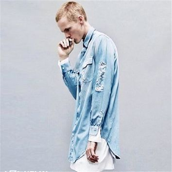 Street Ripped Denim Men Shirt/ Distressed Loose Baggy