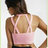 Pink Criss Cross Crop Tank Mustard Cartel small by Mustard Cartel