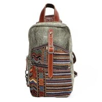 MapleClan Vintage Tribal Print Denim & Canvas Backpack Chest pack