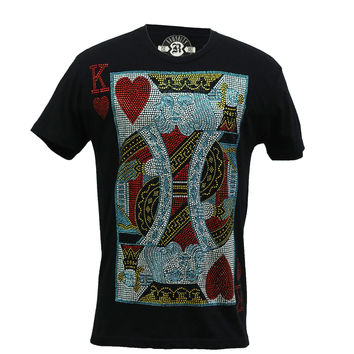 Rawyalty Men's King of Hearts Bling Black T-Shirt