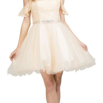 V-Neck Cold-Shoulder Homecoming Short Dress Champagne