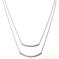 Double Bar Layered Necklace In Silver