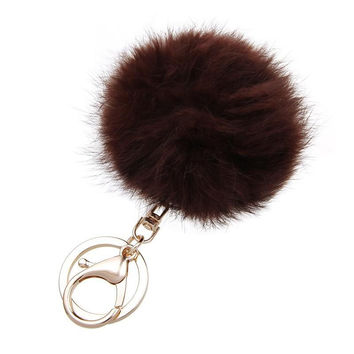 Brown Small Rabbit Fur Pom Keychain