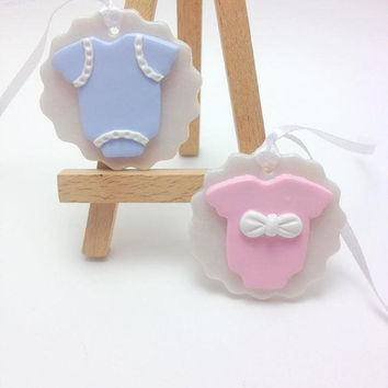 Communion Decorations, Baptism Favors, Christening Favours, Baby Bodysuit Favors, Clay Tags, Event Decor