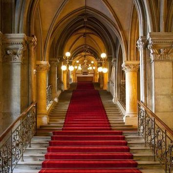 RED CARPET STAIRCASE BACKDROP 10x10 - LCPC601 - LAST CALL
