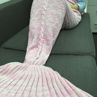 Hot Deal Birthday Gifts Pink Floral Knit Mermaid Sofa Blanket [9594669391]