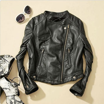 Women Fashion Biker Motorcycle Faux Leather Zipper Jackets Coats Black Outwear F_F = 1902768388
