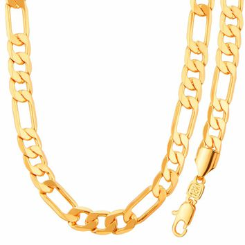 Classic Chain Necklace Set Gold Color Figaro Chain Necklace Bracelet Fashion Jewelry Sets Men Jewelry NB60081