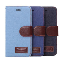 Denim Leather Card Hold Wallet Cases Cover for iPhone 7 5S 6 6S Plus Samsung Galaxy S6 Hight Quality