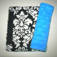 Damask and Bright Blue Minky Reversible Car Seat Strap Covers