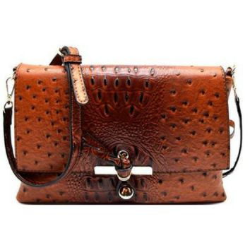 Ostrich Print Cross Body Bag
