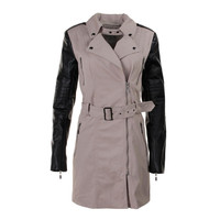 Guess Womens Stretch Faux Leather Trench Coat