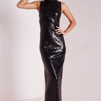 Missguided - Premium Sequin Lace Up Side Maxi Dress Black