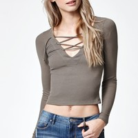 Lace-Up Ribbed Long Sleeve Top