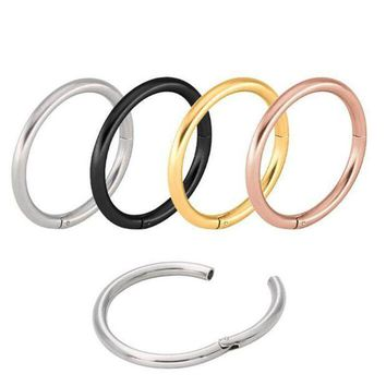 ac ICIKO2Q Titanium Nose Ring Septum Piercing PVD Universal Piercing Segment Hinged Rings Labret Ring Lip Piercing Body Jewelry