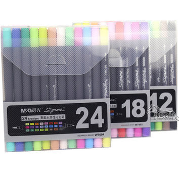 Brush Tip Markers 12/18/24 Set Pen Set Fine Art Brushes Pens Double Headed Sketch Markers Brushes Tip Pens Painting Markers Ink Water Based