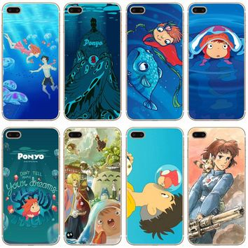 Ponyo On The Cliff Transparent Hard Thin Case Cover For Apple iPhone 4 4S 5 5S SE 5C 6 6S 7 8 X Plus