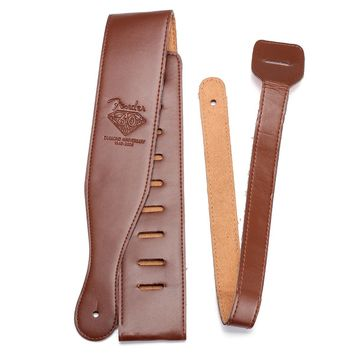 New Brown Adjustable Soft PU Leather Thick Strap for Electric Acoustic Guitar Bass