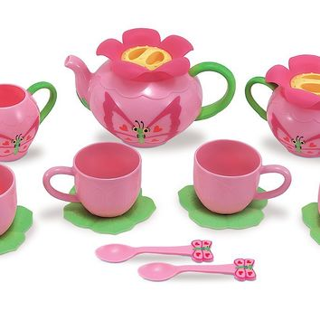 Melissa & Doug Sunny Patch Bella Butterfly Tea Set (17 pcs) - Play Food Accessories 1