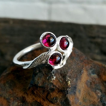 Sterling silver leaf ring , Garnet ring , silver leaf ring , branch ring , stacking ring , Thin silver ing , israeli jewelry , Holiday sale
