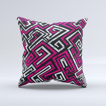 Pink & White Abstract Maze Pattern Ink-Fuzed Decorative Throw Pillow