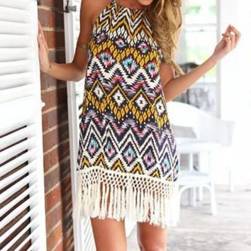 Multicolor Geometric Tie Back Tassel Round Neck Mini Dress