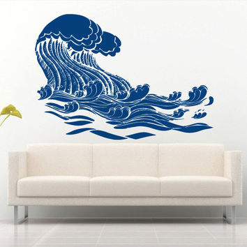 Wall decal art decor decals sticker wave sea ocean water bedroom design mural (m925)