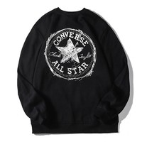 Converse fashion casual hoodies hot seller with a printed round-collar and long sleeve back Black