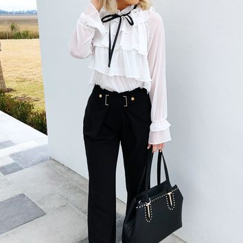 Boss Babe Blouse: White/Black