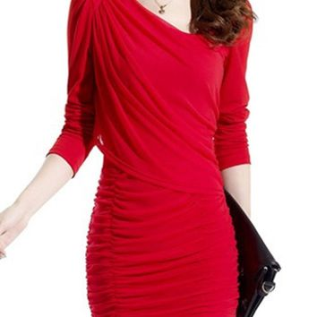 Streetstyle  Casual Asymmetric Neck Plain Ruched Bodycon Dress
