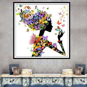 For 11.11 5D Butterfly Beauty Lady DIY Diamond Embroidery Painting Cross Stitch Home Decor