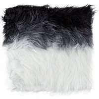 "18"" x 18"" Black & White Fur Pillow Cover 