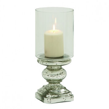 Mercury Glass Pillar Candle Holder