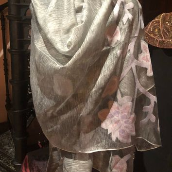Vitage Styled Sheer white brocade wrap Shawl