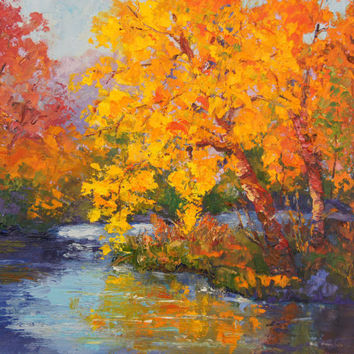 Commission Oil landscape painting 'Autumn Beauty', Autumn Impressionist Landscape, fall landscape, foliage oil painting