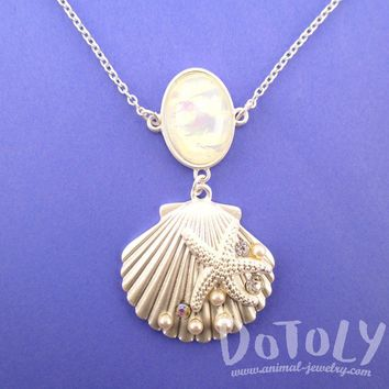 Seashell Starfish Ocean Inspired Mermaid Jewelry Pendant Necklace in Silver