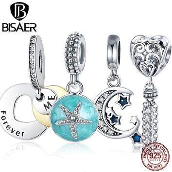 11.11 BISAER Starfish Moon Charms 925 Sterling Silver Summer Sea Starfish Moon STARS Pendants Charms Fit Bracelet Beads Jewelry