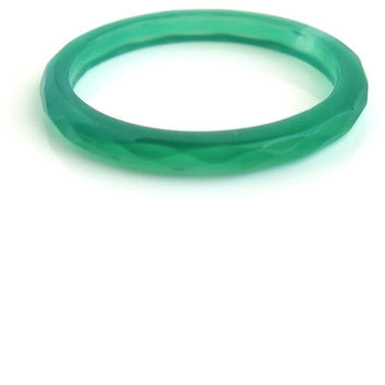 Green Agate - Green - Faceted Agate Ring - Bold Ring