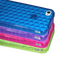 ASleek 4 Pack Clear Dots Design TPU Soft Gel Case Cover for iPhone 4 4S - Blue / Purple / Pink / Green + ASleek Microfiber Cloth