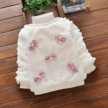 BibiCola Baby Girls Winter Sweaters Toddler Girl Cute Velvet Sweater Kids Warm Sweaters For Baby Girl Clothing