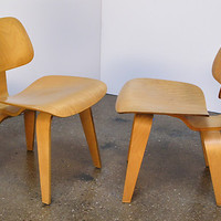 Pair of 1950s Eames DCW Molded Plywood Chairs Herman Miller Original Vintage