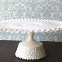 "16"" Milk Glass Cake Stand Pedestal / Cake Plate Pedestal / Cupcake Stand / Wedding Cake Stand for Vintage Weddings & White Weddings"