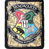 Harry Potter Hogwarts Crest Map Plush Throw Blanket