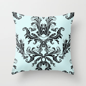 Damask Pattern Throw Pillow by All Is One