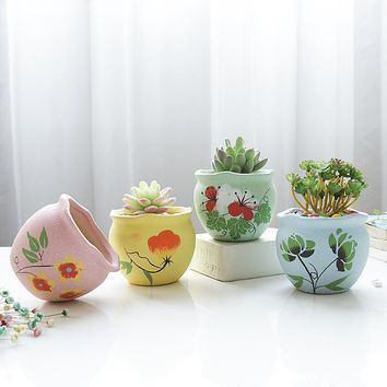 4 pcs Handmade decorative porcelain pot flower Succulent pots Ceramic Flowerpot garden Planter plant Lovely Drawing