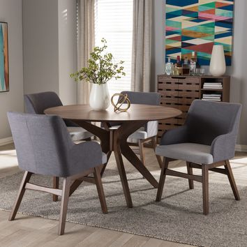Baxton Studio Monte Mid-Century Modern Walnut Wood Round 5-Piece Dining Set Set of 1