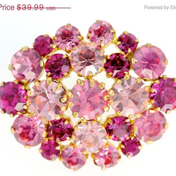 36% OFF SALE Vintage Austrian Goldtone and Bright Pink Rhinestone Brooch Pin Austria BLING