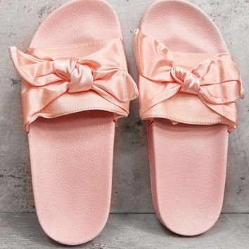 PINK SATIN BOW SLIDERS