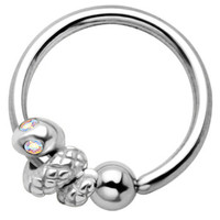 Sterling Silver 925 Aurora Eye Snake Captive Ring | Body Candy Body Jewelry